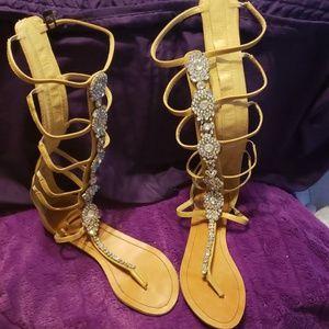 Tan gladiator sandals